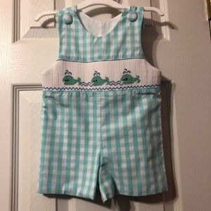 Blue whale checked boys dressy romper 6 months